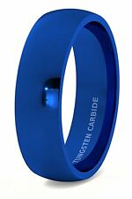 Mens Wedding Band Tungsten Ring 8mm Blue Polished Dome Comfort Fit