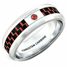 Mens Wedding Band 8mm Classic Tungsten Ring Red Carbon Fiber Zircon Comfort Fit