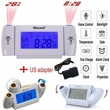 Digital LED Dual Laser Wall Projector Alarm Time Clock Projection Temperature