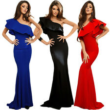 Ruffle One Shoulder Formal Gown Prom Party Evening Long Elegant Mermaid Dress