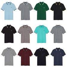 Fred Perry Mens Twin Tipped Polo Shirt Cotton Short Sleeved Top XS S M L XL XXL