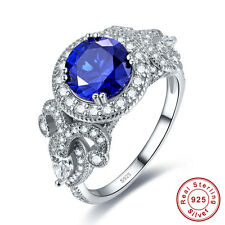 Gift Round Cut Sapphire & White Topaz 100% 925 Sterling Silver Ring Size 6 7 8 9