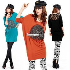 Casual Korean New  Women's Loose Bat-wing Sleeve Long BlouseTops ES9P