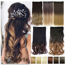 100% Natural OmBre Dip Dyed Hairpiece Clip in Hair Extentions Extension Thick Te