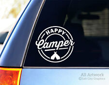 Happy Camper Decal, Tent Camping Sticker - Car Decal, Laptop Sticker