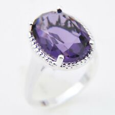 Gorgeous Shiny Oval Woman Jewelry Honey Amethyst Gem Silver Ring US Size 7 8 9