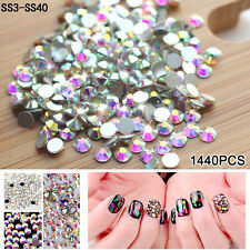 DIY SS3-SS40 1440Pcs Nail Art Flatback Crystal AB Resin Facets Beads 1.3-8.7mm