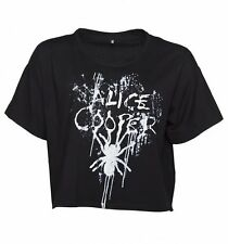 Official Women's Black Alice Cooper Splatter Slouchy Cropped T-Shirt