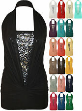 New Ladies Sleeveless Sequin Halter Neck Boob Tube Women Ruched Stretch Nice Top