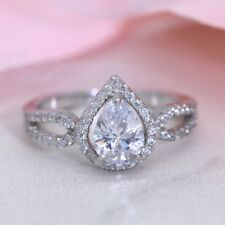 Pear Shaped Sterling Silver Engagement Ring 925 Silver CZ Promise Ring J108