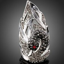 Made With Swarovski Crystal Swan Iced Out 18K White Gold Plated S.7-9 Women Ring