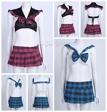 Womens School Girl Cosplay Costume Sexy Lingerie Uniform Halloween Plaid Dress