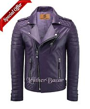 New Mens Stylish Lambskin Genuine Leather Jacket Purple with free Leather Wallet
