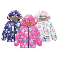 Toddler Baby Kids Winter Hooded Clothes Floral Coat Boy Girl Jacket Outwear 2-7Y