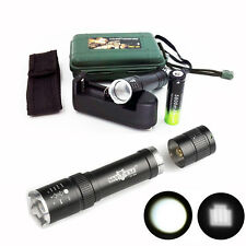 8000 Lumens Zoomable XML T6 LED Flashlight Torch+18650 Battery+Charger+Case