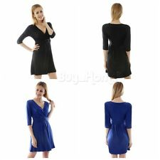 Women Summer Casual Deep V Neck Dresses Party Cocktail Bodycon Short Mini Dress