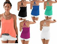 Women's Ladies Stretchy Summer Vest Cami Strappy Top Plus Size 12-18
