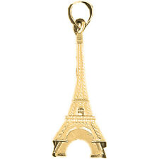 18K Gold 3D Eiffel Tower Pendant (Yellow or White Gold) - AZ4916-18K