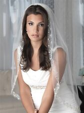 Bridal Veil Embroidered Beaded Elbow Or Fingertip Length 1 Layer Wedding