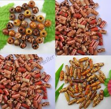 100pcs MIXED Round & Oval & Shapes Charms WOOD Loose BEADS Size 10/12/15MM