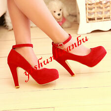 Sexy Womens PlAtform Ankle Strap Prom Shoes Dating party Shoes High Heels Pumps