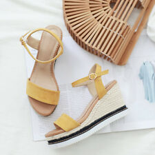 Women's synthetic leather espadrilles wedge heels ankle strap sandals yellow