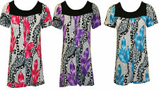 New Ladies Floral Print Stretch Tunic Smock Long Top Summer Casual Stylish Dress