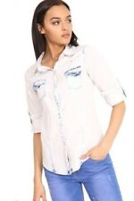 New Womens Casual Bleached Acid Wash Button Up Long Sleeve Denim Shirt