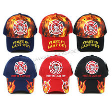 First In Last Out Baseball Cap Fire Rescue Flame Firefighter Embroidered Hat