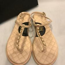 CHANEL 17P Chain Thong Ankle T Strap Quilted Flat Sandals Shoes Beige Black $775