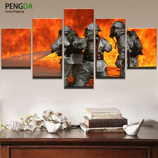 Firefighter Picture Painting Abstract Print Canvas Wall Art Poster Home Decor