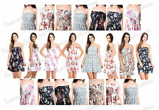 Womens Floral Sheering Boobtube Ladies Ruched Flared Swing Bandeau Top
