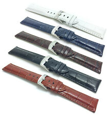 18-30mm XL Leather Watch Band Strap, Comes in Black, White, Blue, Brown, Tan