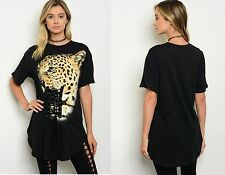 Womens Ladies Animal Tiger Print Long Tunic Party Top Plus Size Top 12 14 16