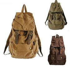 Men Vintage Canvas Leather Hiking Travel Military Backpack Messenger Bag 2105