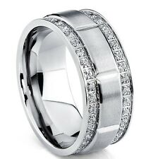 Men's Titanium Wedding Band Ring with Double Row Cubic Zirconia, Comfort Fit