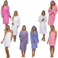 Womens Ladies Towelling Bath Robe Dressing Gown 100% Cotton Terry Spa Soft Warm