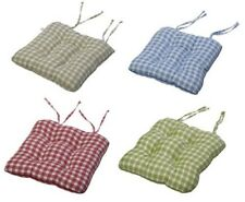 "Gingham Check Cotton Seat Pad 14"" x 15"" Kitchen Outdoor Dining Chair Cushion"