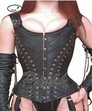 Body Shaper Overbust Steel Boned Genuine Cow Leather Fetish Corset Bustier 9015