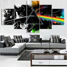 Pink Floyd Dark Side Of The Moon, 5 Panel Framed Canvas Wall Art Home Decor