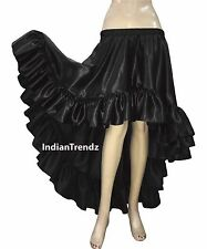 Black - Belly Dance Satin Flamenco Skirts Ruffle Asym Gypsy Jupe Tiered Rok Hoho