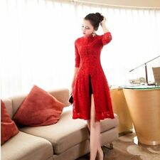 Chinese Women Dress Coat Floral Lace Hollow Frog Button Qipao Cheongsam Coat