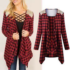 Women Casual Loose Checked Plaid Long Sleeve Shirt Blouse Outerwear Tops T-Shirt