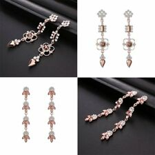 Fashion Women Lady Crystal Earrings Stud Long Drop Dangle Jewelry Rose Gold Gift