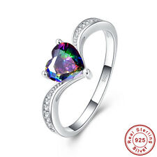Wedding Heart Cut Rainbow & White Topaz S925 Sterling Silver Ring Size 6 7 8 9