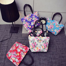 Women Girls Printing Flowers Canvas Shopping Handbag Shoulder Tote Shopper Bag