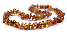 Genuine Baltic Amber Teething Necklace - Cognac Chips Beads - Baby to Mom Size