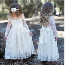 Flower Girl Dress Princess Vintage Special Occasion Party Wedding Lace Pageant