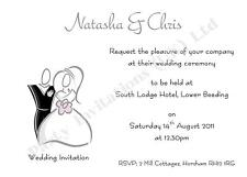 10 Personalised Wedding Day/Evening Invitations - also Save The Date & Thank You