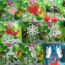 50Pcs WINE GLASS PLACE NAME CARDS VINTAGE ROMANCE Heart Butterfly Wedding Decor